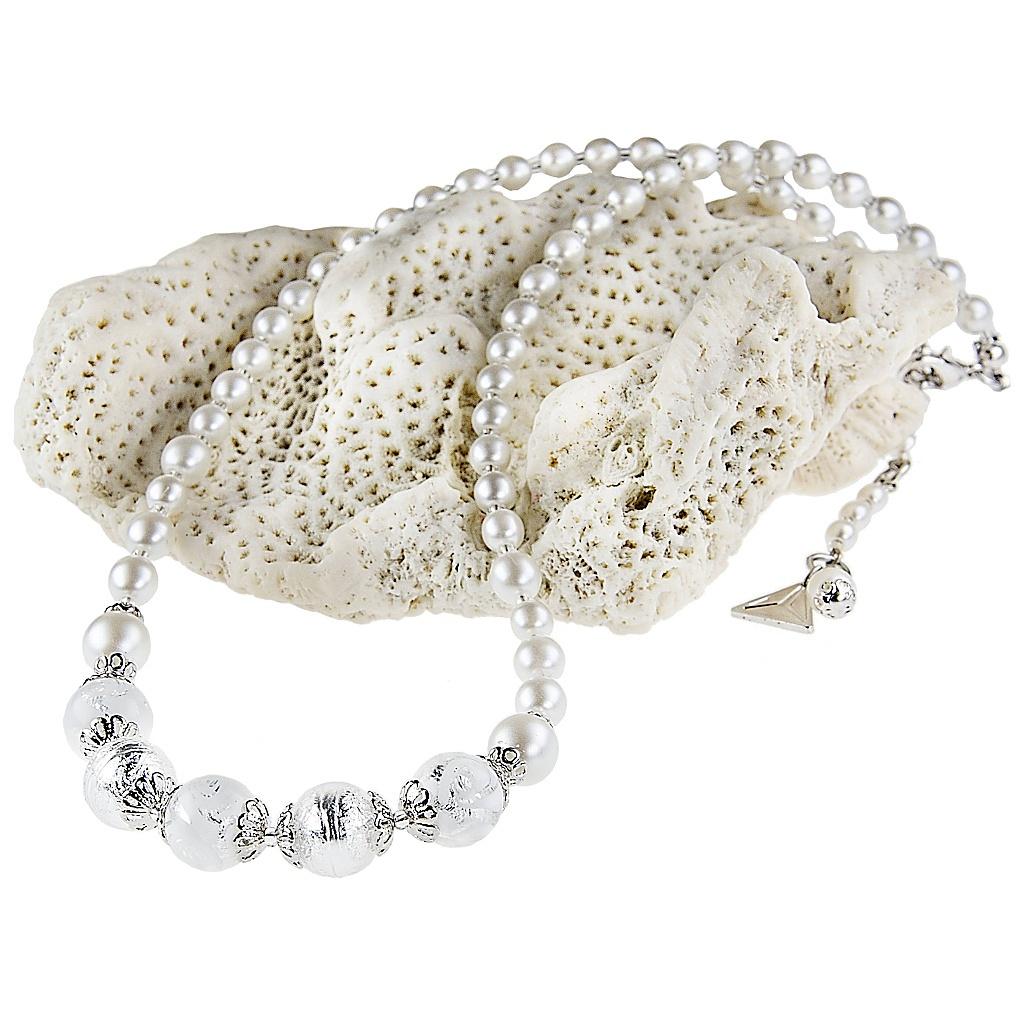 Originální náhrdelník z perel Lampglas White romance