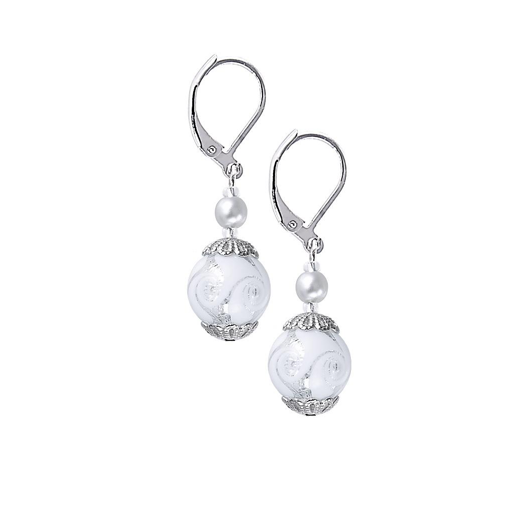 Originální náušnice White Romance s ryzím stříbrem v perlách Lampglas