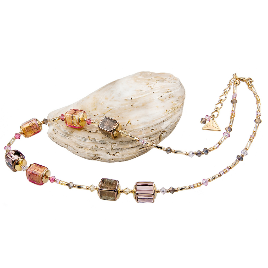Náhrdelník Glowing Desert z perel Lampglas