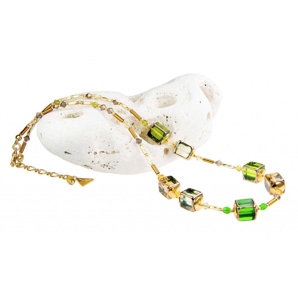 Luxusní dámský náhrdelník Lemon grass z lampových perel Lampglas