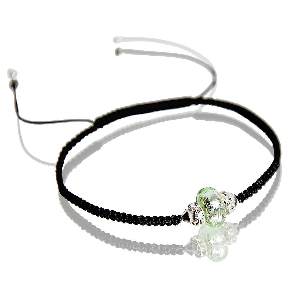 Náramek Shamballa Green Freshness s ryzím stříbrem v perle Lampglas