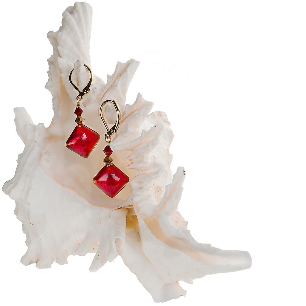 Náušnice Scarlet Muse s plátky 24kt Au v šarlatových perlách Lampglas