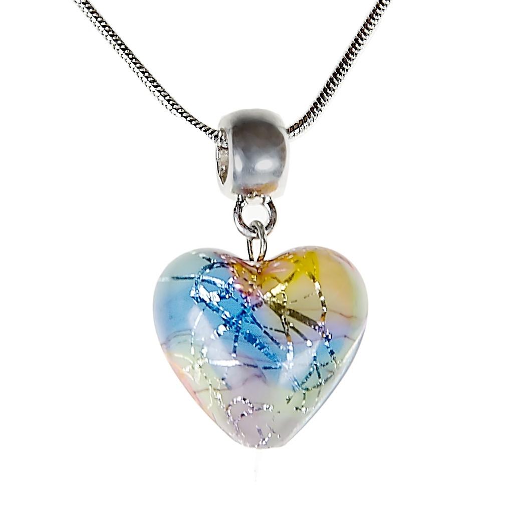 Jemný náhrdelník Romantic Heart s ryzím stříbrem v perle Lampglas