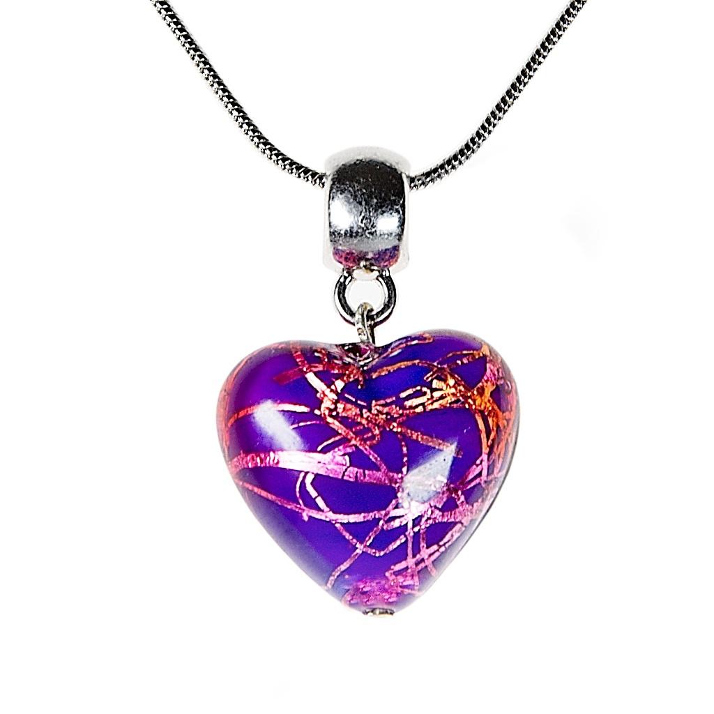 Fialkový náhrdelník Violet Heart s ryzím stříbrem v perle Lampglas