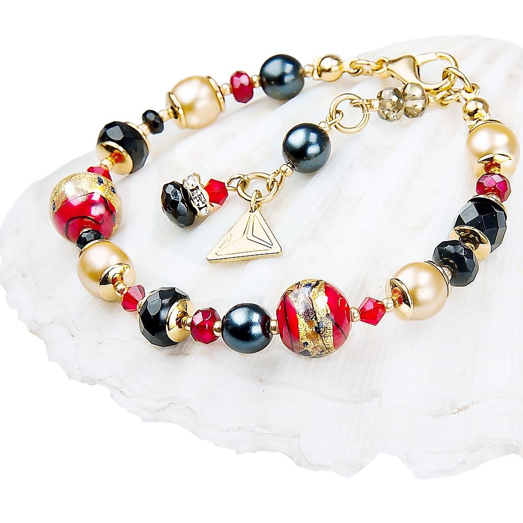 Náramek Red Desire s 24kt zlatem v perlách Lampglas