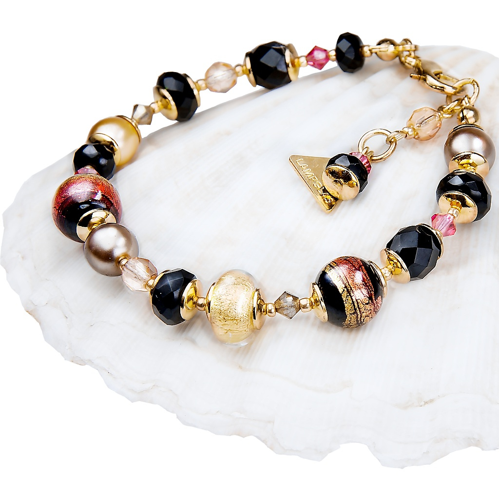 Dámský náramek Mystery s perlami Lampglas s obsahem 24kt zlata