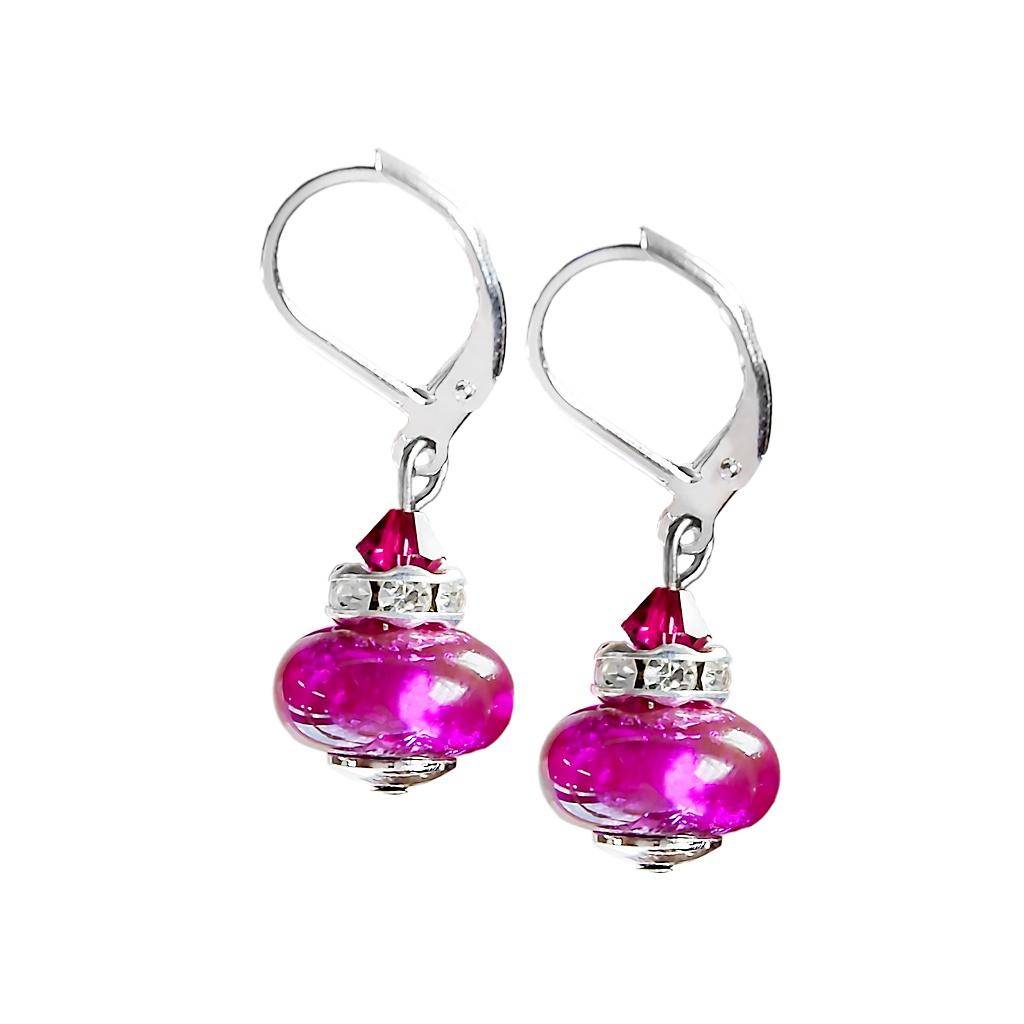 Rhodiované náušnice Magenta Dream s ryzím stříbrem v perlách Lampglas
