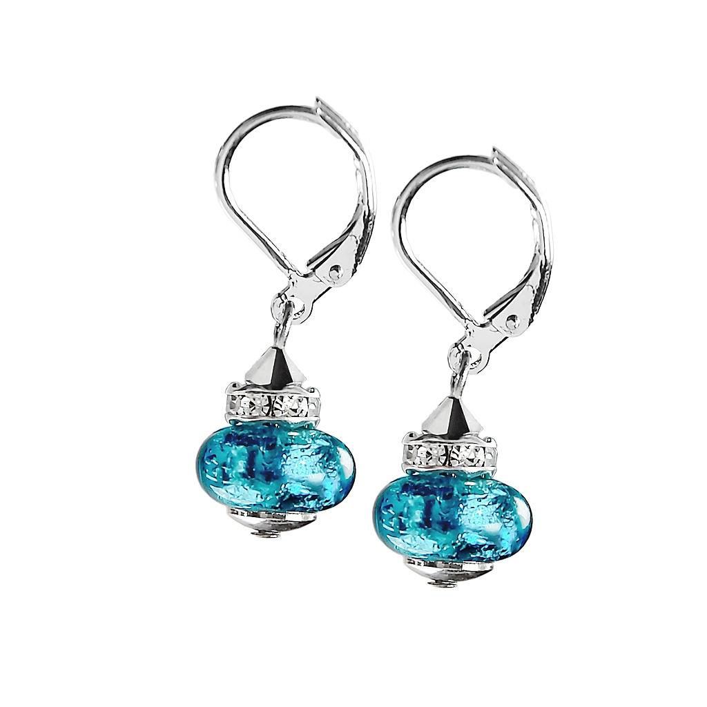 Dámské rhodiované náušnice Sea Depth s ryzím stříbrem v perlách Lampglas