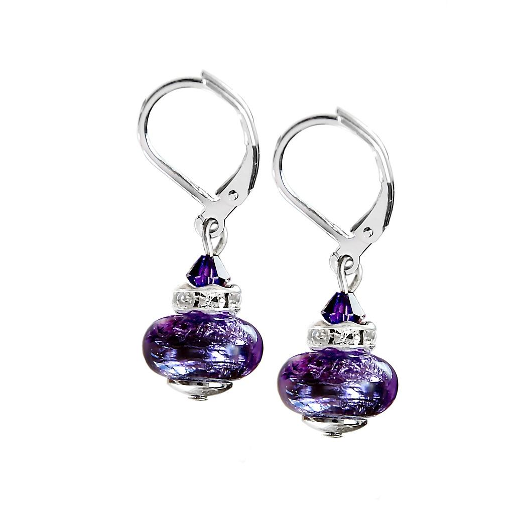 Skvostné dámské náušnice Vilolet Future s ryzím stříbrem v perlách Lampglas