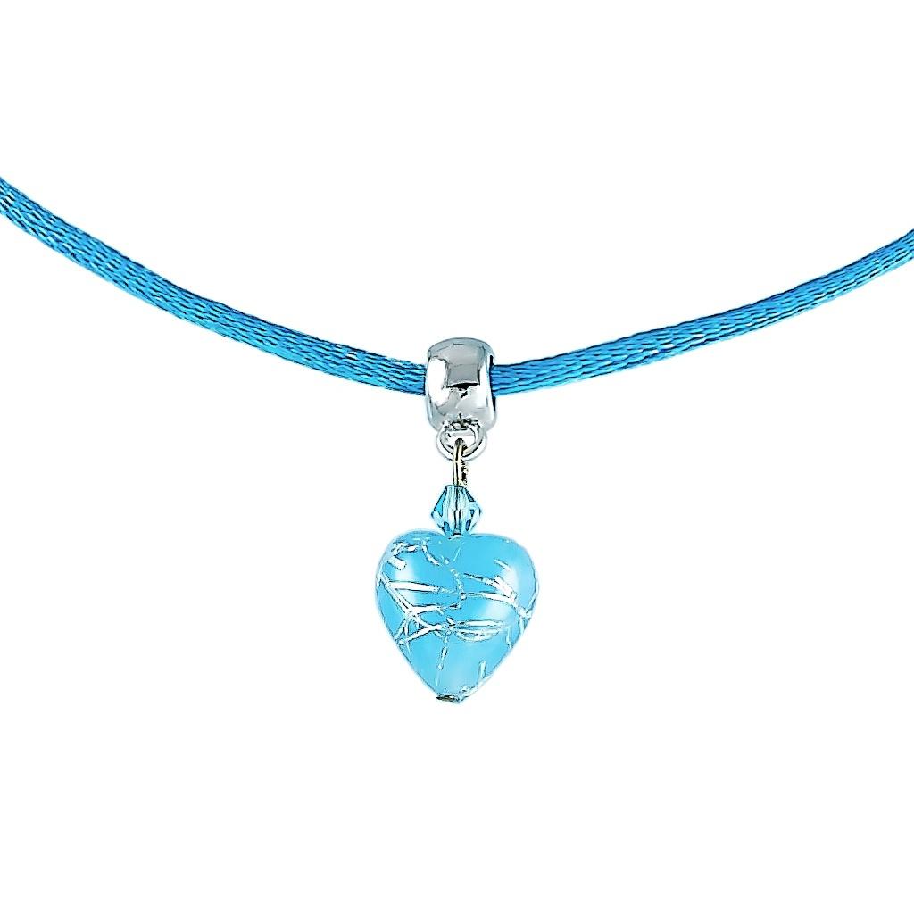 Nebesky modrý náhrdelník Baby Blue s ryzím stříbrem v perle Lampglas