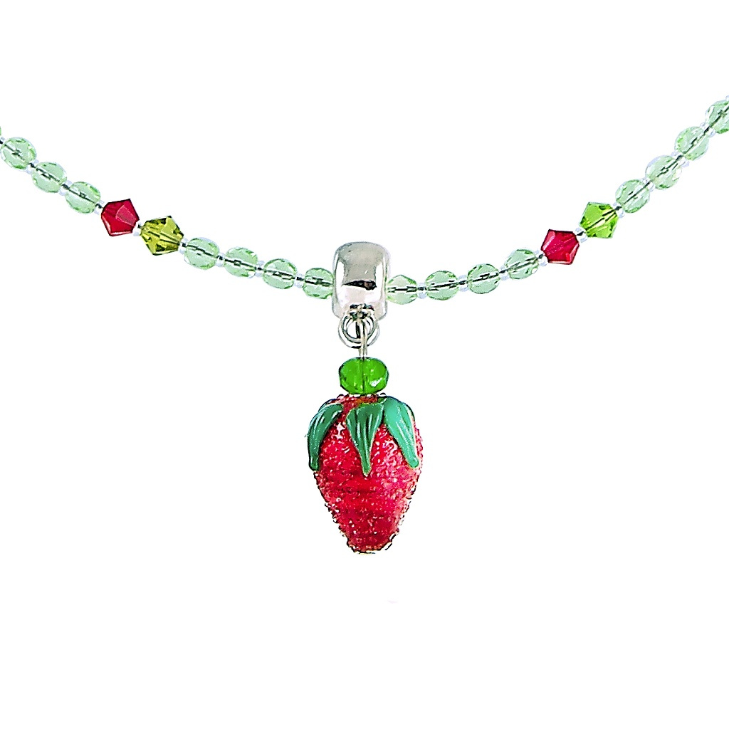 Šťavnatý náhrdelník Baby Strawberry s perlou Lampglas