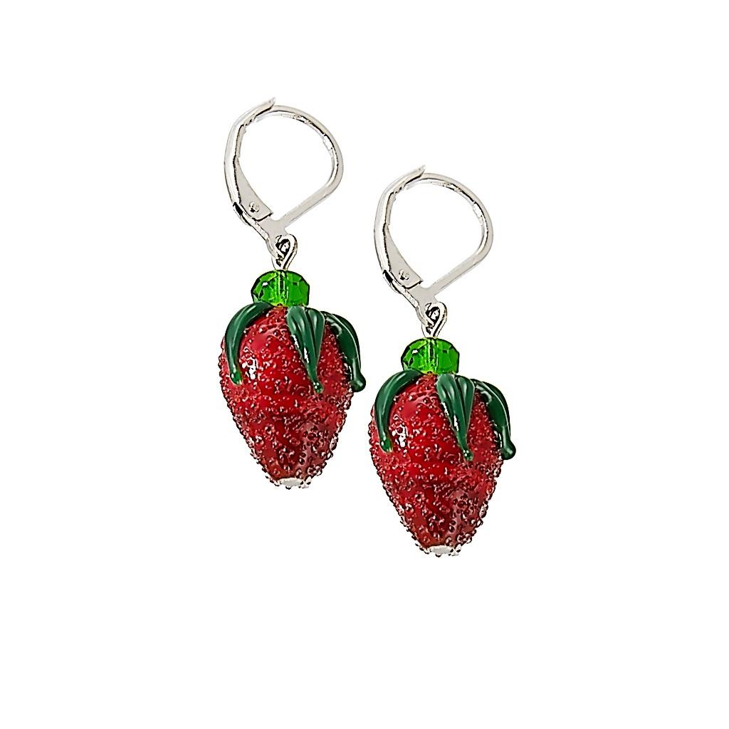 Jahodové rhodiované náušnice Baby Strawberry s perlami Lampglas