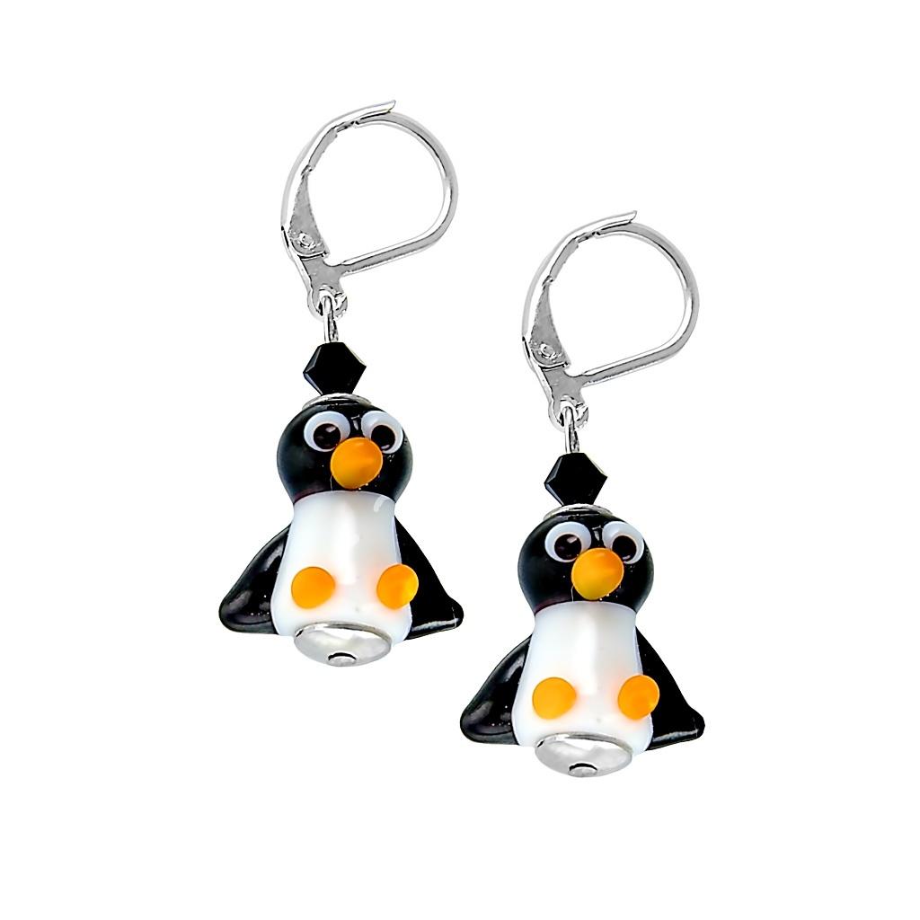 Vtipné rhodiované náušnice Penguin s perlami Lampglas