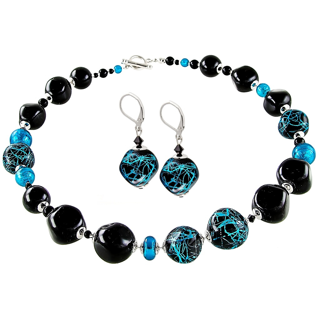 Mrazivý set náhrdelníku a náušnic Turquoise Icon z perel Lampglas