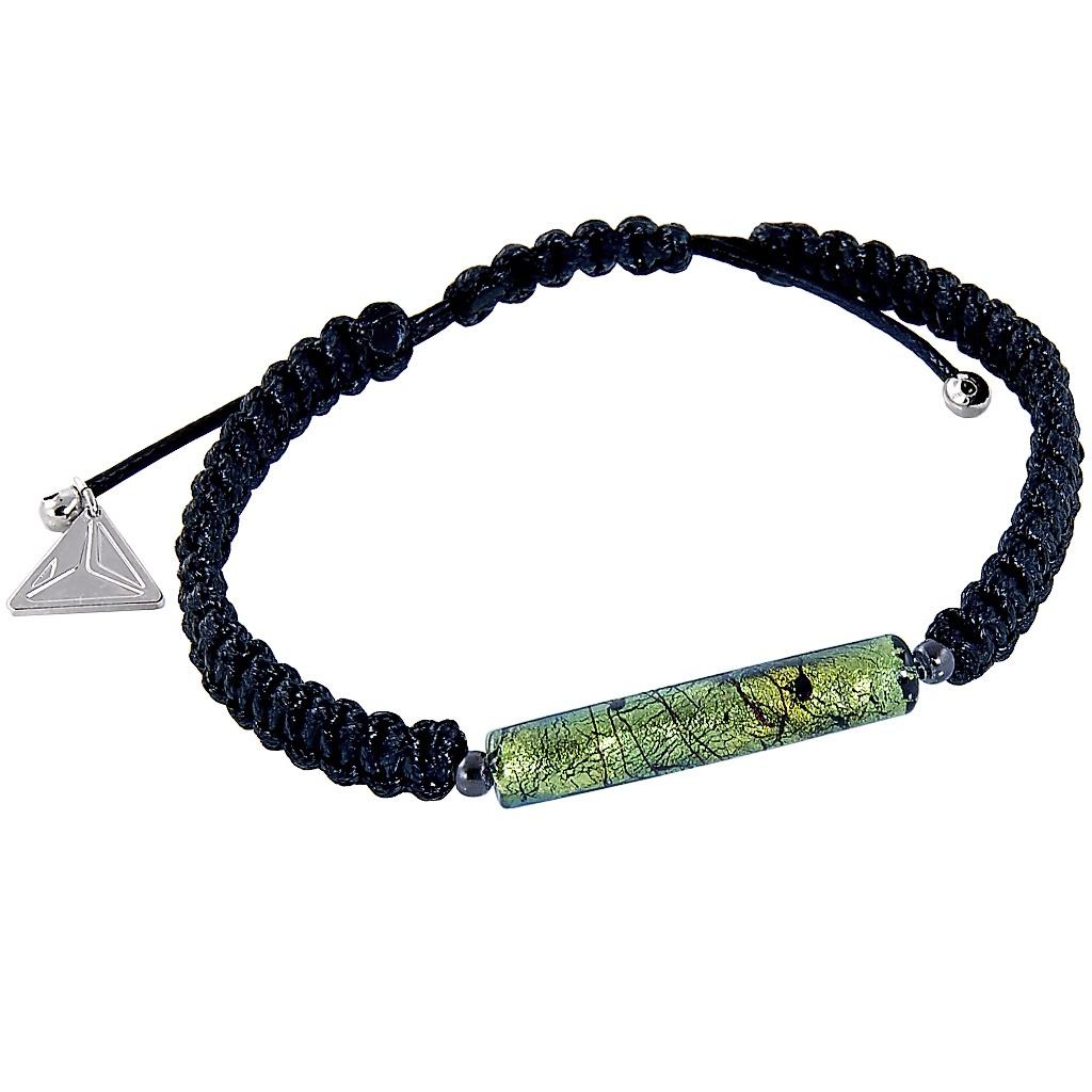 Pánský náramek Snake Skin s perlou Lampglas