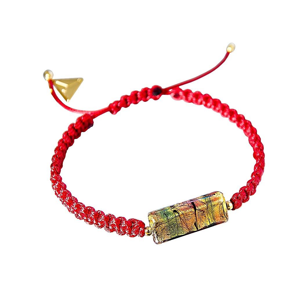 Náramek Shamballa Red Gold s 24kt zlatem v perle Lampglas