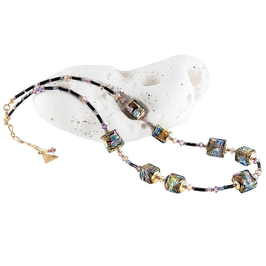 Mysteriózní náhrdelník Gold Cubes s 24kt zlatem a ryzím stříbrem v perlách Lampglas
