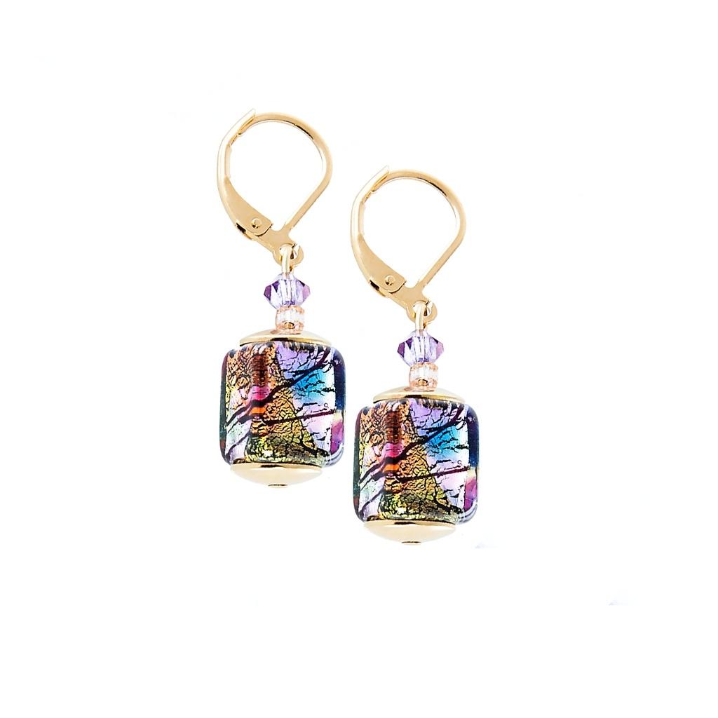 Mysteriózní náušnice Gold Cubes s 24karátovým zlatem a ryzím stříbrem v perlách Lampglas