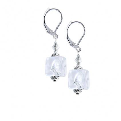 Křišťálové náušnice White Cubes s ryzím stříbrem v perle Lampglas