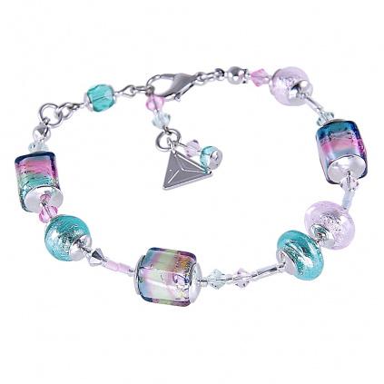 Náramek Sweet Cubes s ryzím stříbrem v perlách Lampglas
