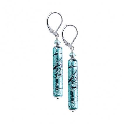 Náušnice Turquoise Love s ryzím stříbrem v perlách Lampglas