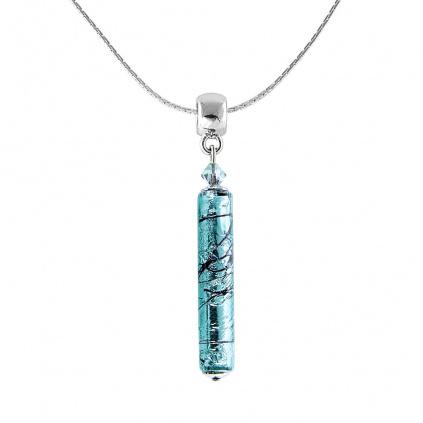 Náhrdelník Turquoise Love s ryzím stříbrem v perle Lampglas
