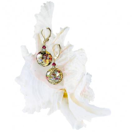 Náušnice Mysterious Beauty s 24karátovým zlatem v perlách Lampglas