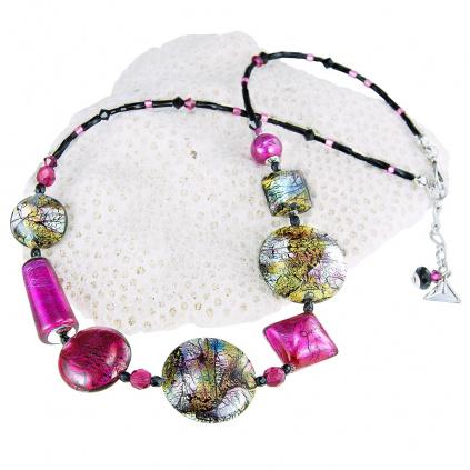 Náhrdelník Sweet Candy s 24karátovým zlatem a ryzím stříbrem v perlách Lampglas