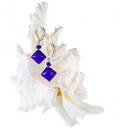 Náušnice Gold Blue s ryzím stříbrem v perlách Lampglas