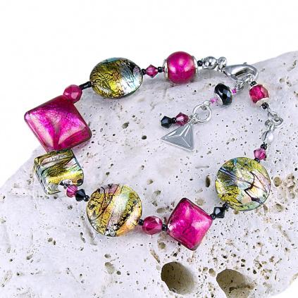 Náramek Sweet Candy s 24karátovým zlatem a ryzím stříbrem v perlách Lampglas