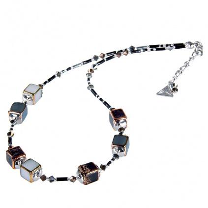 Náhrdelník Clear Night z perel Lampglas
