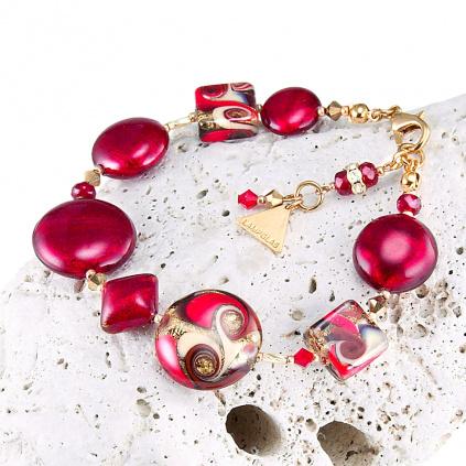 Náramek Scarlet Muse s 24karátovým zlatem v perlách Lampglas