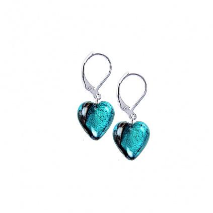 Náušnice Turquoise Heart s ryzím stříbrem v perlách Lampglas