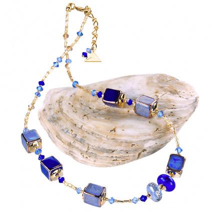Náhrdelník Triple Blue z perel Lampglas