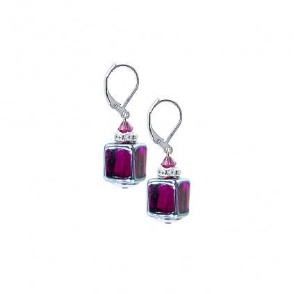 Náušnice Juicy Raspberry z perel Lampglas