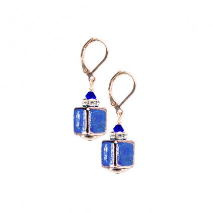 Náušnice Triple Blue z perel Lampglas