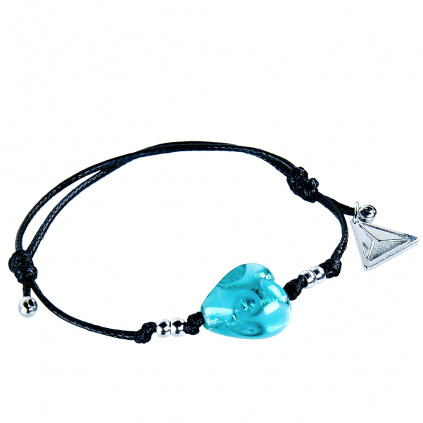Náramek Forest Heart s ryzím stříbrem v perle Lampglas