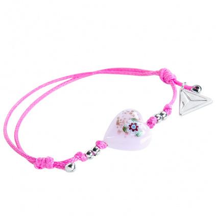 Náramek Pink Flower s unikátní kresbou v perle Lampglas