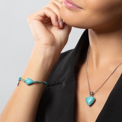 Náramek Turquoise Caress s ryzím stříbrem v perle Lampglas