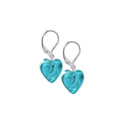 Náušnice Forest Heart s ryzím stříbrem v perlách Lampglas