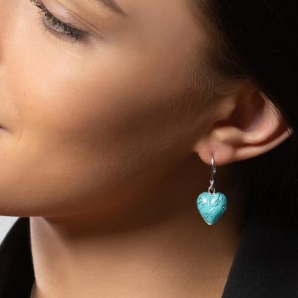 Náušnice Turquoise Caress s ryzím stříbrem v perlách Lampglas
