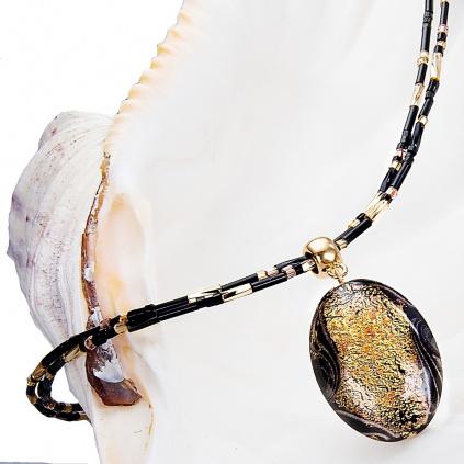 Náhrdelník Golden Ground s 24kt zlatem v perle Lampglas