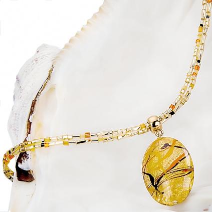 Působivý náhrdelník Sunny Meadow s perlou Lampglas s 24kt zlatem