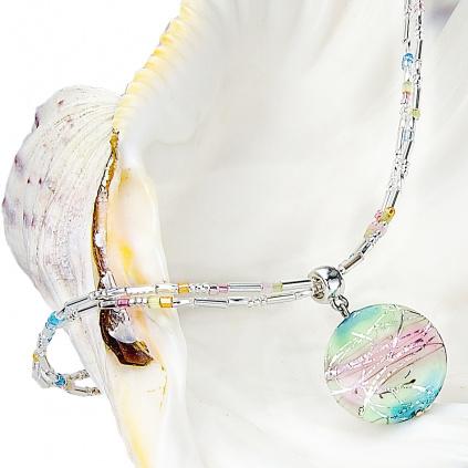 Dámský náhrdelník Sweet childhood s lampovou perlou s kousky ryzího stříbra Lampglas