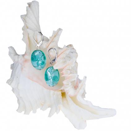 357 originalni nausnice z lampovych perel turquoise lace