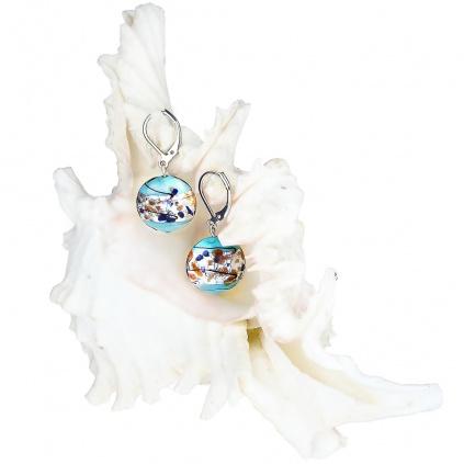 Náušnice z lampových perel Frozen lake