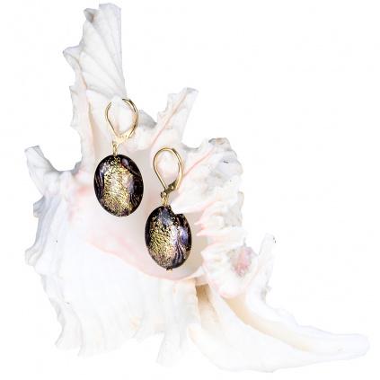 Náušnice 3D Golden World z perel Lampglas s 24kt zlatem