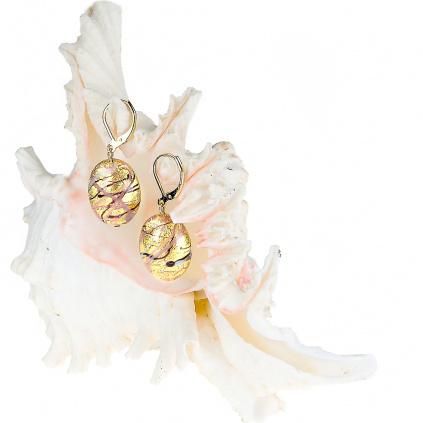 Visací náušnice Romantic Roots z perel Lampglas s 24kt zlatem