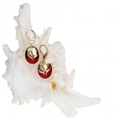 Noblesní dámské náušnice Red Sea s 24kt zlatem v perlách Lampglas