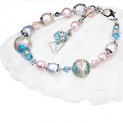 Něžný náramek Sweet Childhood s perlami Lampglas s ryzím stříbrem
